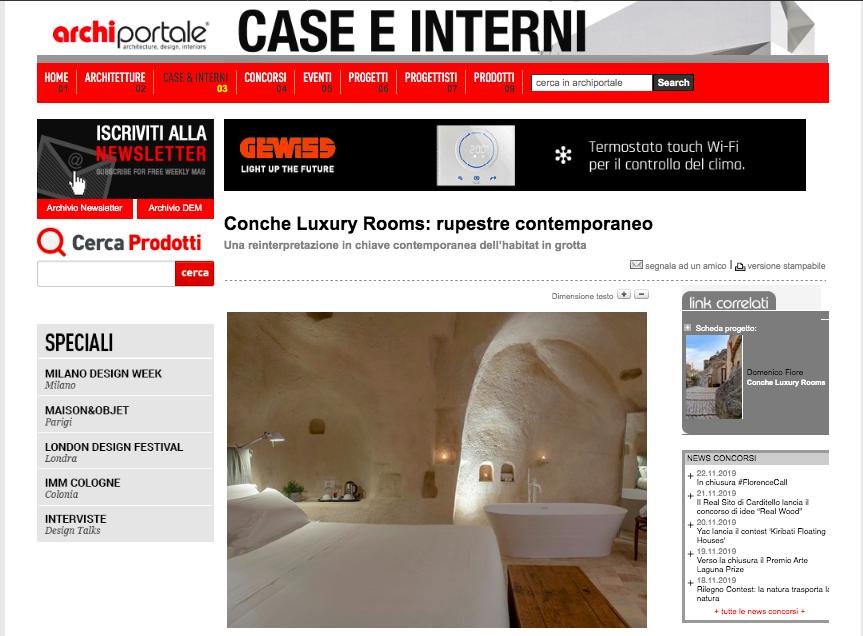 Conche Luxury Rooms rupestre contemporaneo.  Archiportale parla di noi